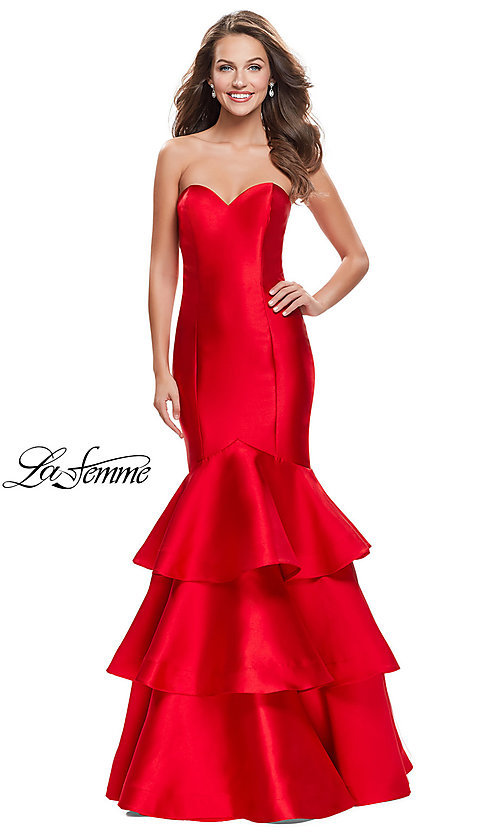 Image of strapless La Femme long mikado formal dress. Style: LF-25432 Front Image