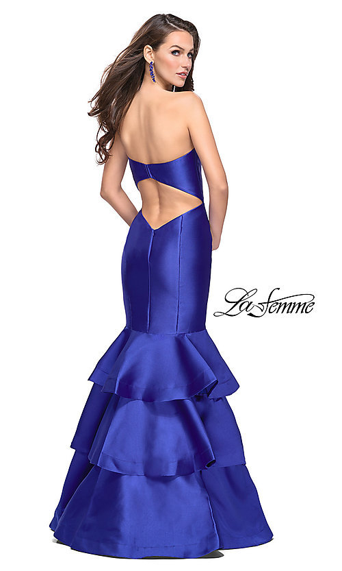 Image of strapless La Femme long mikado formal dress. Style: LF-25432 Back Image
