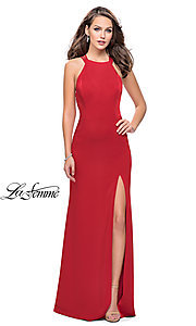 Image of strappy-open-back high-neck prom dress by La Femme. Style: LF-25439 Detail Image 1