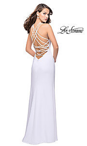 Image of strappy-open-back high-neck prom dress by La Femme. Style: LF-25439 Detail Image 2