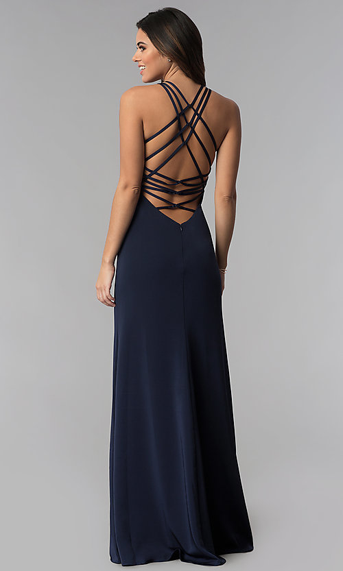 010191634f Image of strappy-open-back high-neck prom dress by La Femme.