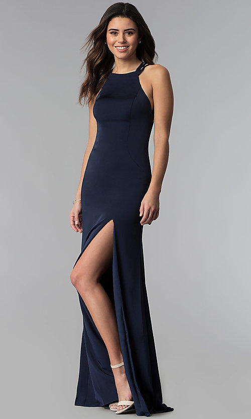 Image of strappy-open-back high-neck prom dress by La Femme. Style: LF-25439 Back Image