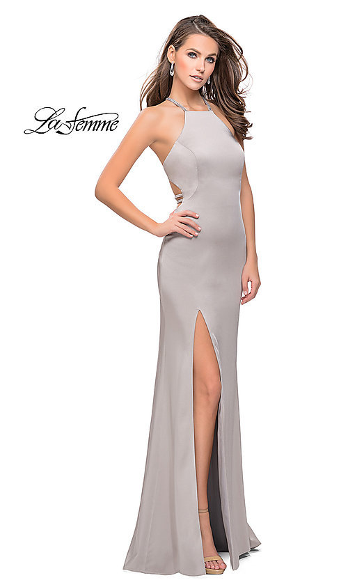 Image of high-neck La Femme open-back evening dress. Style: LF-25459 Front Image