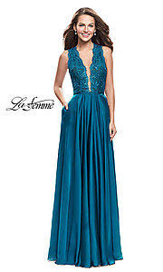 V-Neck La Femme Prom Dress with Lace Bodice