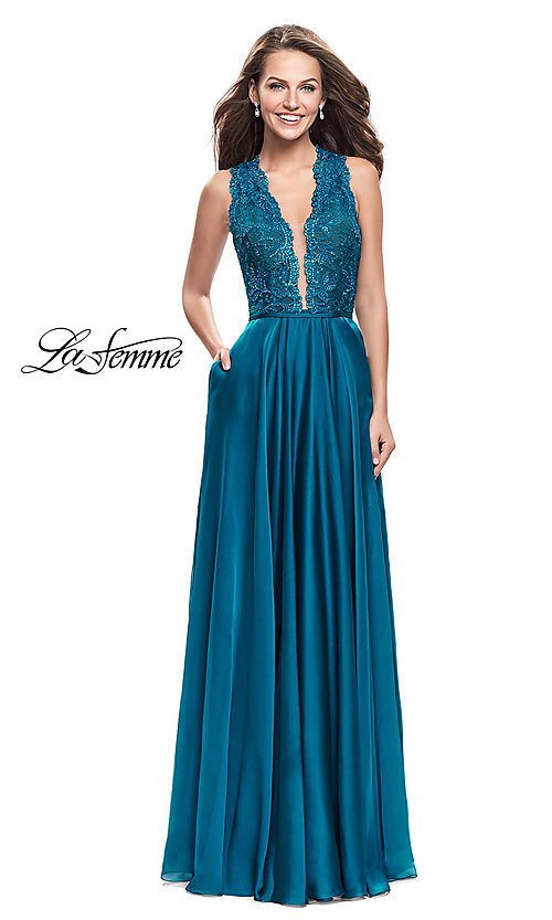 Image of v-neck La Femme prom dress with lace bodice. Style: LF-25487 Front Image