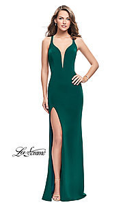 Image of La Femme v-neck prom dress with back cut outs. Style: LF-25504 Detail Image 1
