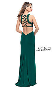 La Femme V-Neck Prom Dress with Back Cut Outs