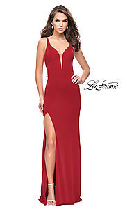 Image of La Femme v-neck prom dress with back cut outs. Style: LF-25504 Front Image
