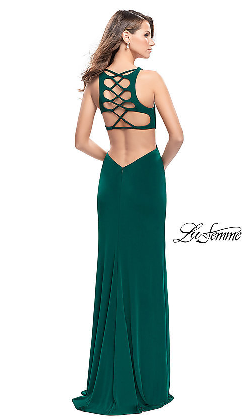Image of La Femme v-neck prom dress with back cut outs. Style: LF-25504 Back Image