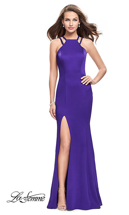 Image of open-back long navy prom dress with beaded straps. Style: LF-25540 Front Image