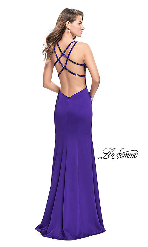 Image of open-back long navy prom dress with beaded straps. Style: LF-25540 Back Image