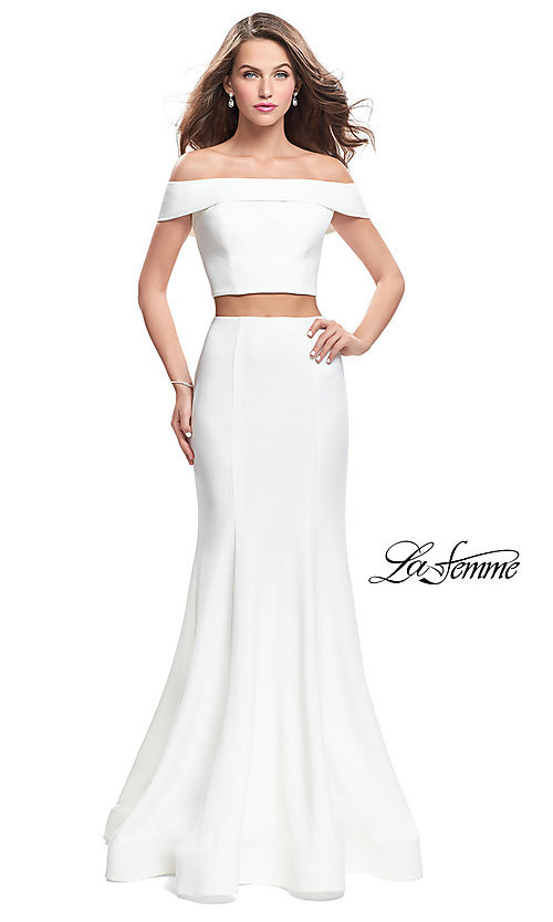 Image of off-the-shoulder two-piece prom dress by La Femme. Style: LF-25578 Detail Image 2