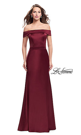 La Femme Off-the-Shoulder Long Prom Dress