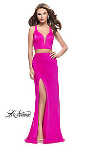 Image of two-piece long satin prom dress by La Femme. Style: LF-25599 Detail Image 1