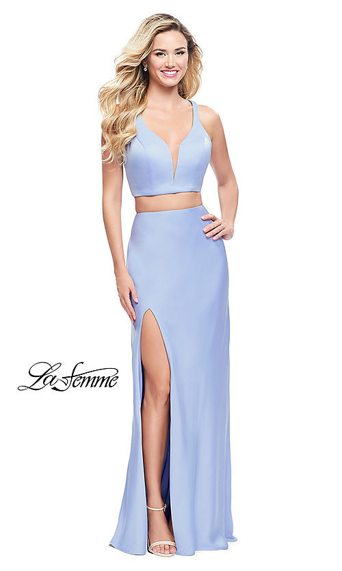 Image of two-piece long satin prom dress by La Femme. Style: LF-25599 Front Image