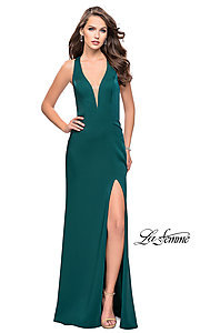 Image of La Femme long v-neck prom dress with strappy open back. Style: LF-25612 Back Image