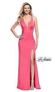 Image of La Femme long v-neck prom dress with strappy open back. Style: LF-25612 Detail Image 3