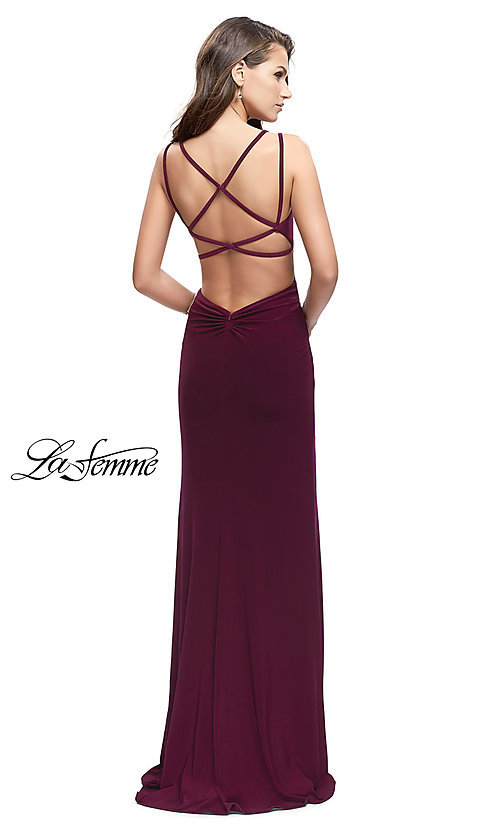 Image of strappy-open-back long prom dress by La Femme. Style: LF-25648 Back Image