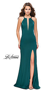Image of high-neck La Femme prom dress with beaded back.  Style: LF-25669 Detail Image 1