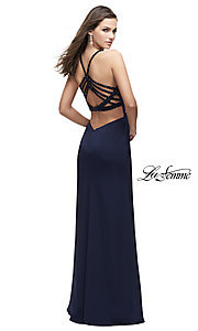 High-Neck La Femme Prom Dress with Beaded Back