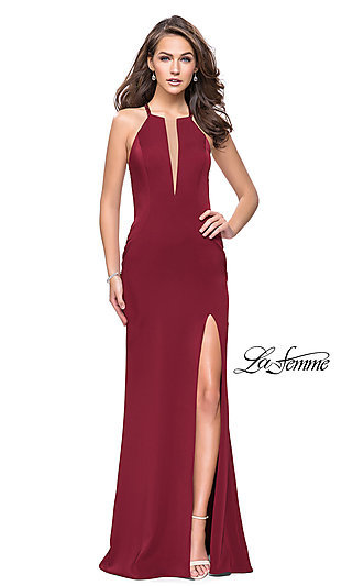 ab7ceaee7bb High-Neck La Femme Prom Dress with Beaded Back