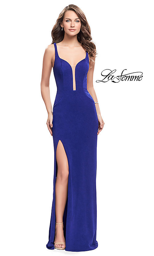 Image of La Femme long prom dress with back cut outs. Style: LF-25720 Front Image