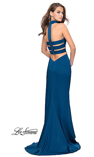 76749889f78 La Femme Prom Dress with Choker