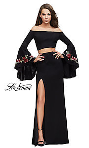 Long Two-Piece Off-the-Shoulder Prom Dress by La Femme with Sleeves