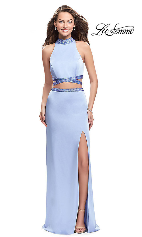 Image of two-piece La Femme rhinestone-collar formal dress. Style: LF-25746 Front Image