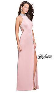 Image of high-neck long open-back formal dress by La Femme. Style: LF-25767 Detail Image 2