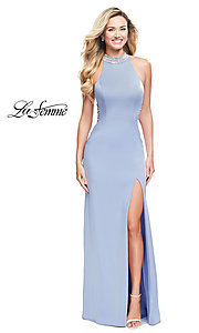 Image of high-neck long open-back formal dress by La Femme. Style: LF-25767 Front Image