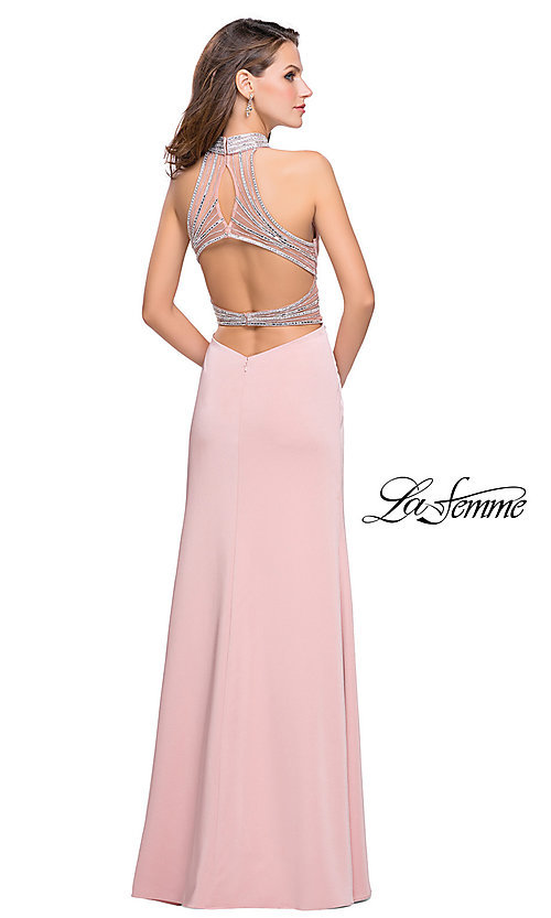 Image of high-neck long open-back formal dress by La Femme. Style: LF-25767 Back Image