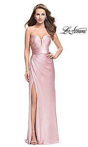 Image of La Femme strapless satin ruched long prom dress. Style: LF-26017 Detail Image 1