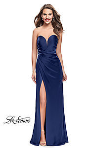 Image of La Femme strapless satin ruched long prom dress. Style: LF-26017 Detail Image 2