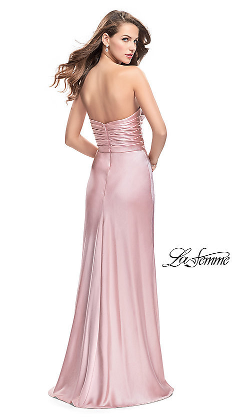 Image of La Femme strapless satin ruched long prom dress. Style: LF-26017 Back Image