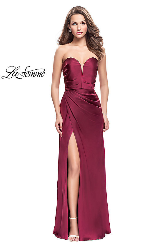 Image of La Femme strapless satin ruched long prom dress. Style: LF-26017 Front Image