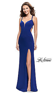 Image of La Femme open-back v-neck prom dress with beads. Style: LF-26021 Front Image