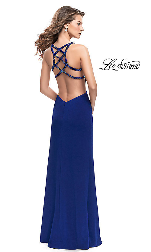 Image of La Femme open-back v-neck prom dress with beads. Style: LF-26021 Back Image