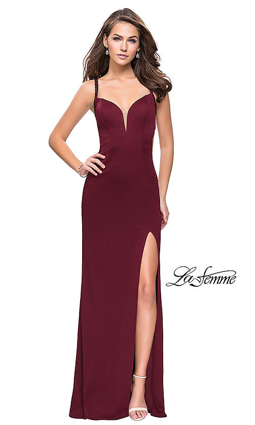 Image of La Femme open-back v-neck prom dress with beads. Style: LF-26021 Detail Image 2