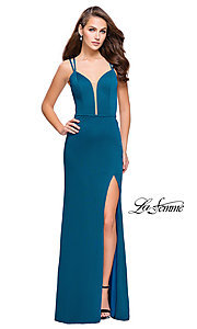 Long La Femme Open-Back Prom Dress with Illusion V-Neck