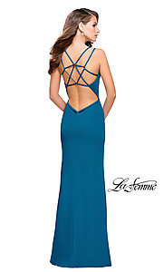 Image of long La Femme open-back v-neck prom dress. Style: LF-26023 Back Image