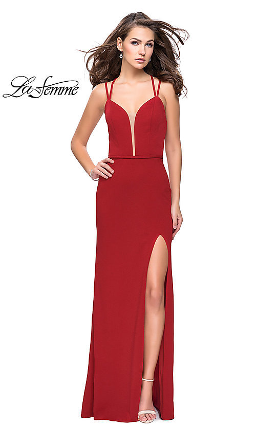Image of long La Femme open-back v-neck prom dress. Style: LF-26023 Detail Image 2