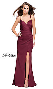 Image of long La Femme open-back satin prom dress with ruching. Style: LF-26036 Back Image
