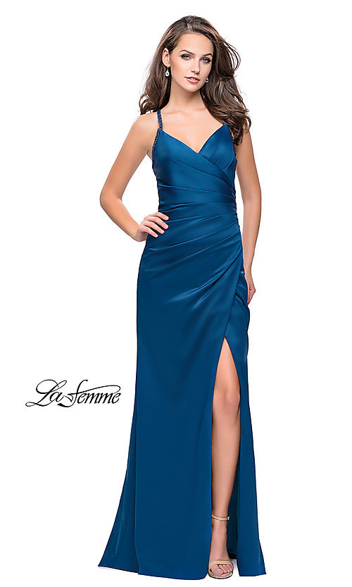 Image of long La Femme open-back satin prom dress with ruching. Style: LF-26036 Detail Image 2