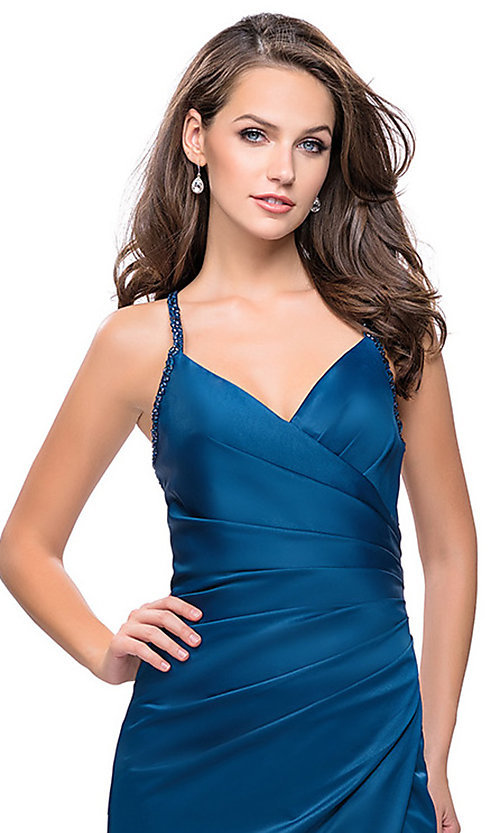 Image of long La Femme open-back satin prom dress with ruching. Style: LF-26036 Detail Image 3