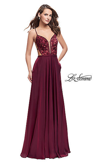 Long Illusion Open-Back Prom Dress with Applique Accents by La Femme
