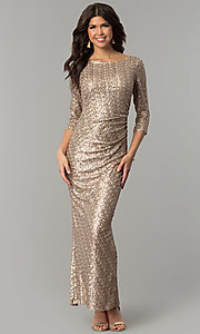Image of long 3/4-sleeved sequin gold holiday party dress. Style: JU-MA-263870 Front Image