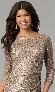 Image of long 3/4-sleeved sequin gold holiday party dress. Style: JU-MA-263870 Detail Image 1