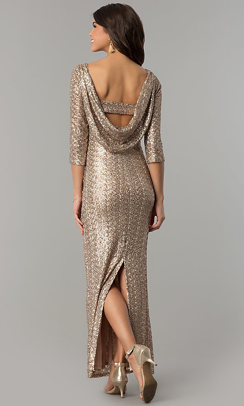 Image of long 3/4-sleeved sequin gold holiday party dress. Style: JU-MA-263870 Back Image