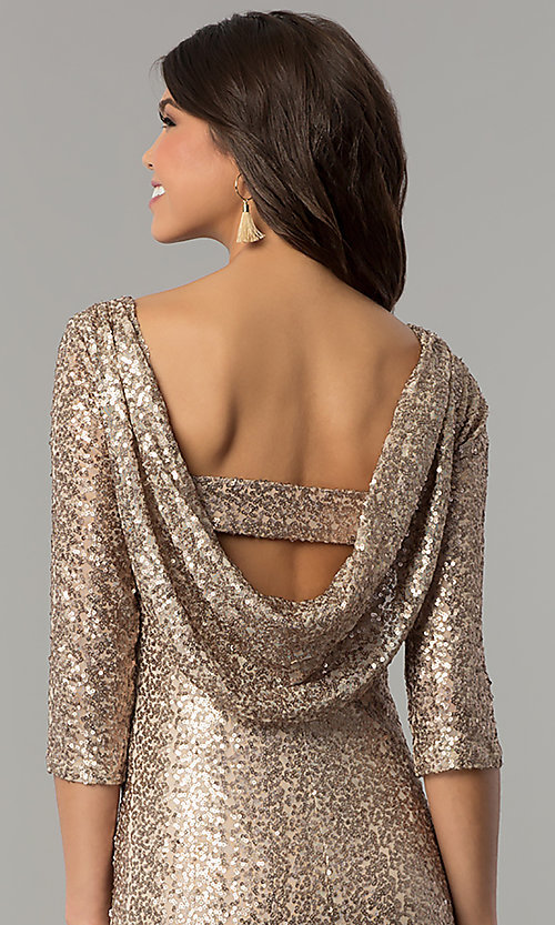 Image of long 3/4-sleeved sequin gold holiday party dress. Style: JU-MA-263870 Detail Image 2